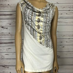 Free People Draped Top Cowl Neck Metallic Grecian